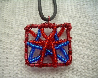 Wire and Beads - Red\Blue Necklace