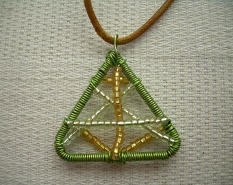 Wire and Beads - Green\Gold Necklace