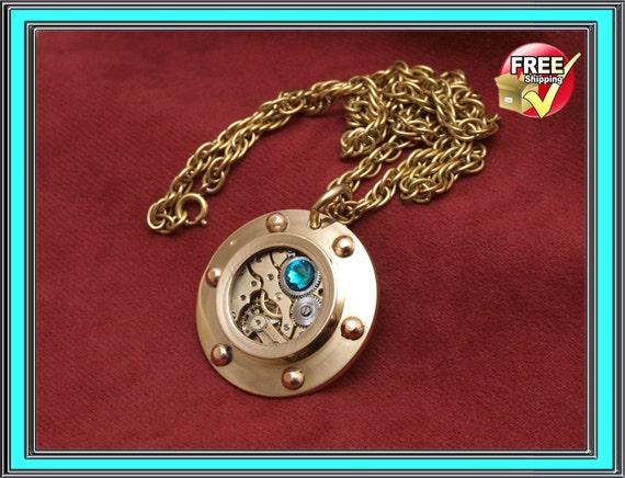 Steampunk jewelry, port hole pendant, nautical
