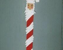 Handmade Wooden Hanging Santa candy cane