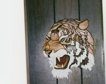Handmade custom wooden Intarsia tiger head