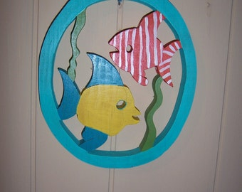 Handmade custom wooden tropical fish wall hanging