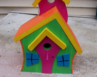 Brightly Colored Whimsical Handmade Wooden Functional Birdhouses