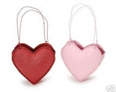 Valentine Wedding Favors - Embossed Tin Heart Baskets Fill with Candy