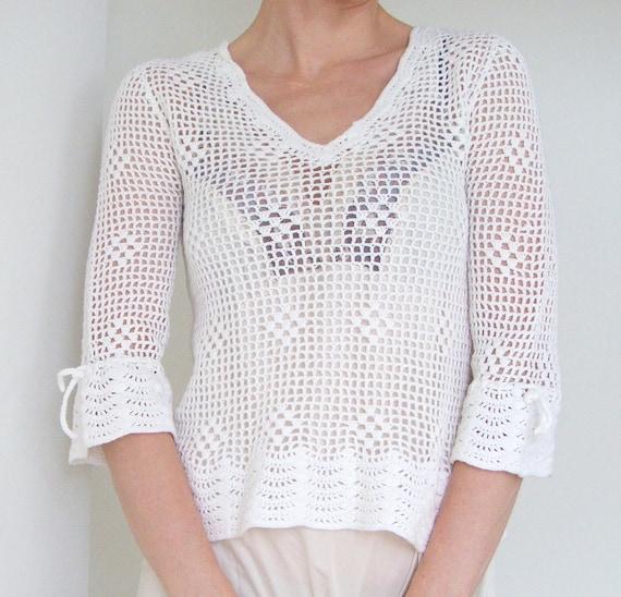 JUST REDUCED - 80s - 90s romantic  white cotton crochet blouse