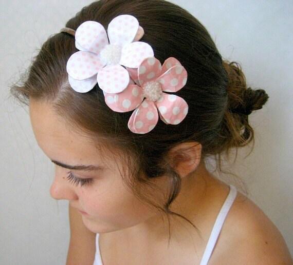 Polka Dots Doubled Daisy Paper Mache Headband