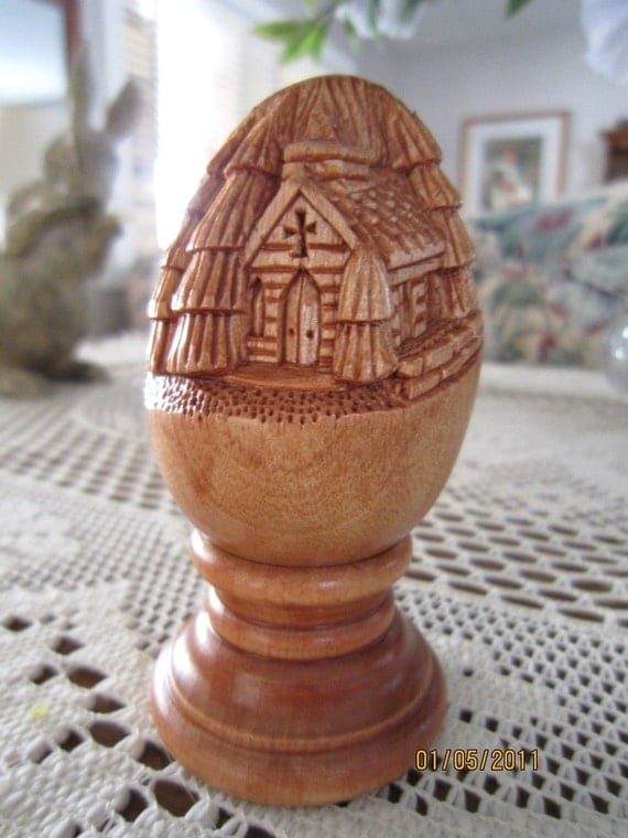 Relief carved egg church by carvingsandmoore on etsy