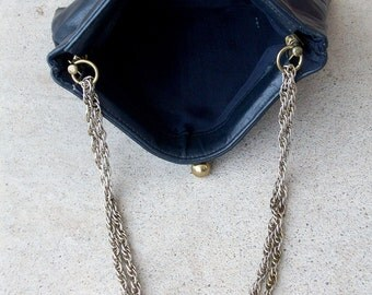 1960's Vintage Navy Leather Handbag