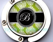 Personalized Gifts  - Purse Hook Hanger Handbag Holder- Initial Monogram on Green White Damask - Choose your Initial or Color