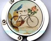 Bag Hook Purse Hanger Holder - Vintage Bike Bird Shabby Chic design, Unique Gift for mom, grandma, sister, girlfiriend, teacher