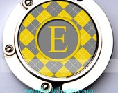 Customized Purse Hook Bag Hanger Handbag Holder - yellow and gray wedding favors, bridesmaid gifts - Yellow and Gray Argyle Plaid Pattern