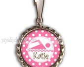 swim birthday party favors personalized gifts for kids - Swimmer Personalized Zipper Pull Backpack Charm - Pink Polka Dots Custom color name