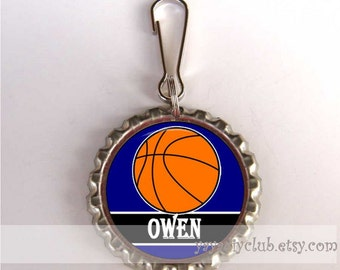 Personalized party favors for kids - Basketball Backpack Zipper Pull Luggage Tag Charm - Customized color name
