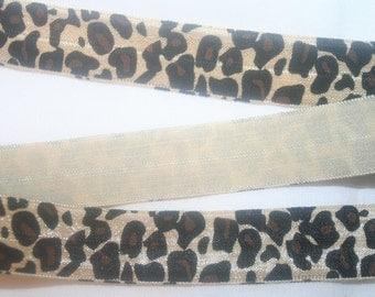 1, 4, or 10 yards tan black leopard animal print shiny baby headband Hair Ties FOE stretch foldover fold over elastic