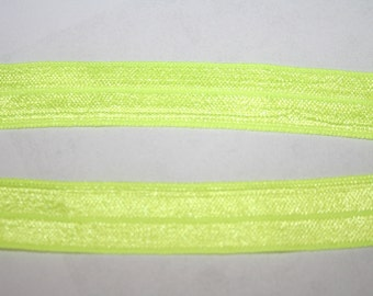 "6 yards BRIGHT neon YELLOW foldover elastic FOE shiny stretch hair ties 5/8"" wide r424"