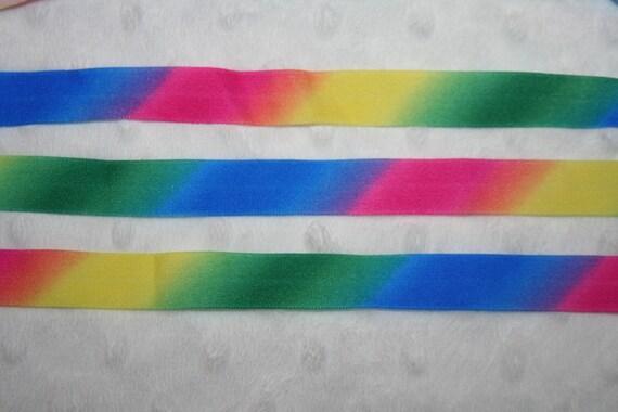 7.6 yds Primary Tie Dye Rainbow 5/8 shiny Baby headband FOE foldover elastic Hot Pink Emerald Green Cobalt Blue Yellow u783