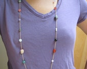 "Carie Necklace - Multi gem station necklace in Gold 36"" long"