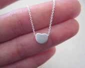 adjustable Matte silver Tiny heart charm necklace on delicate sterling silver chain with extender