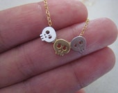 3 Skull necklace :  your choice of charms on chain of your choice