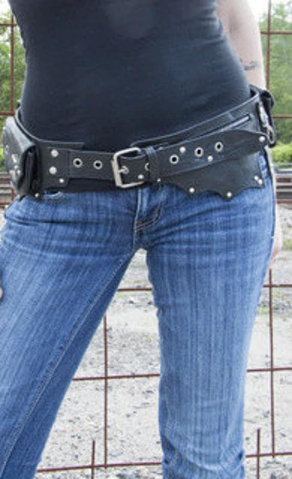Black and Silver Leather Hip Belt Bag