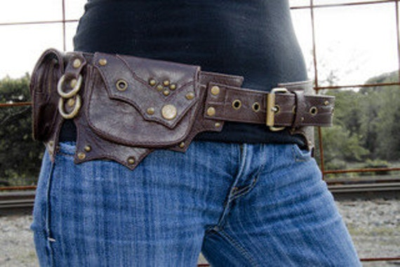 Chocolate and Antique Brass Steampunk Leather Hip Belt Bag