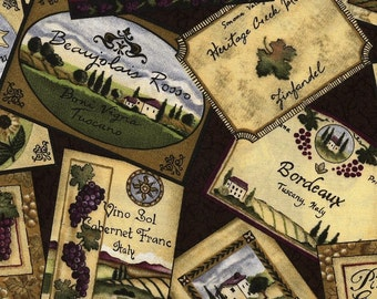 Vineyard Labels from Wine Country - South Seas Import - Half Yard