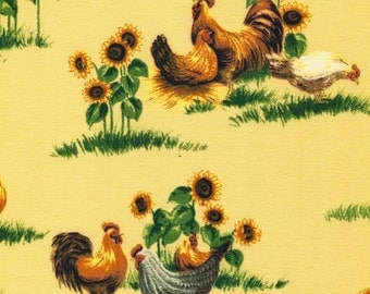 Farmland Roosters and Sunflowers - Half Yard Plus