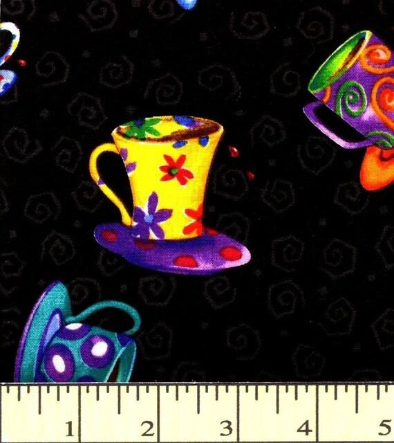 Bright Teacups on Black - Spill the Beans - Clothworks - 1 short yard - Last Available