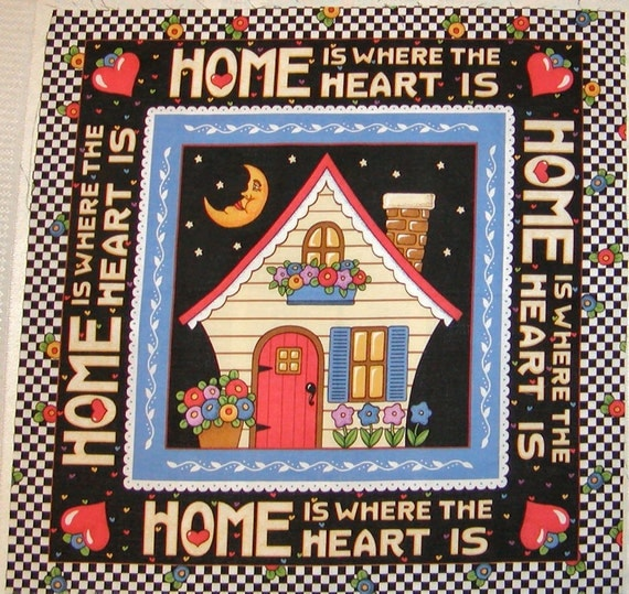 Home and Heart - Mary Engelbreit -  Pillow Panel - Rare Out of Print