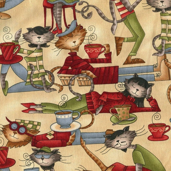 Coffee Cat Cafe on Cream - Henry Glass Fabric - 1 yard - Last Available