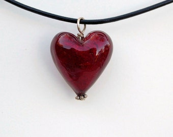 Venetian red heart pendant, ruby red heart necklace, glass heart, Murano glass jewelry by Dolce Beada
