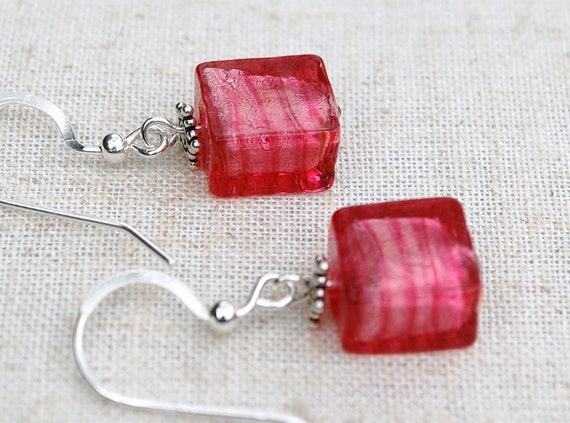 Venetian glass earrings, Small square pink earrings, ear candy, white gold foil, Venetian glass jewelry by Dolce Beada