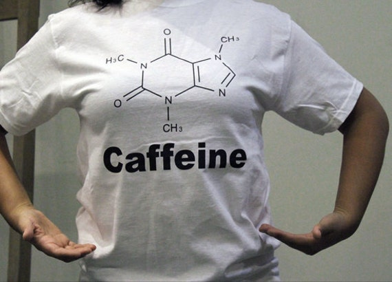 Ready To Ship-Caffeine screen printed t-shirts geekery chemistry molecular structure