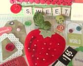 Sweet Vintage Strawberry Inspiration Kit  \/\/\/ Reserved For kristakeltanen \/\/\/