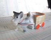 Vintage Dog and Wagon Figurine