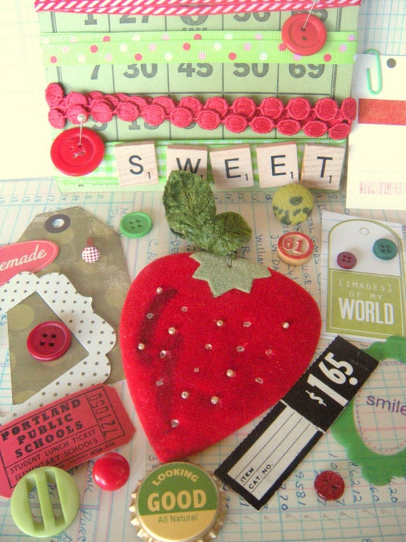 Sweet Vintage Strawberry Inspiration Kit  \/\/\/ Reserved For kristakeltanen \/\/\/