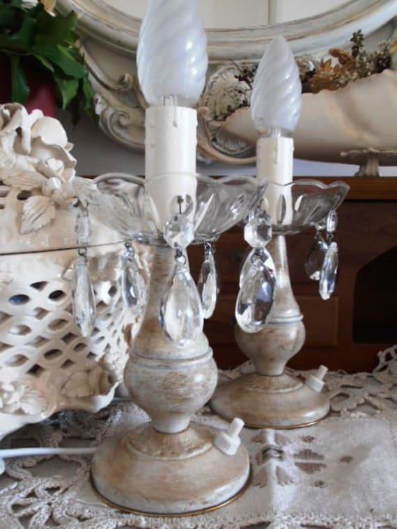 LUMETTI lampade da tavolo shabby chic color crema con gocce