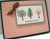 Hunter Green handstamped Thinking of You Embossed Flower card with trees