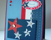 Red, White, and Blue Patriotic Thanks card with bling