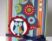 Striped Red, Green, and Blue Blank Greeting Card with Owl and Scallop Circle