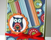 Polka Dot Red, Blue, and Green BLANK Owl Greeting Card with Owl and Scallop Circle