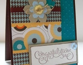 Polka Dots Embossed Congratulations Card with Die-Cut Flowers in Teal and Brown