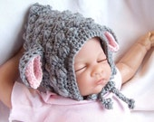 Lamb Hat Baby 0 to 3 month Girl or boy  Gray with pink ears IN STOCK