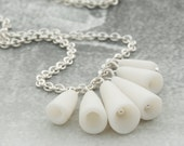 White porcelain pods and sterling silver simple artisan ceramic necklace - Pasodoble , Modern jewelry