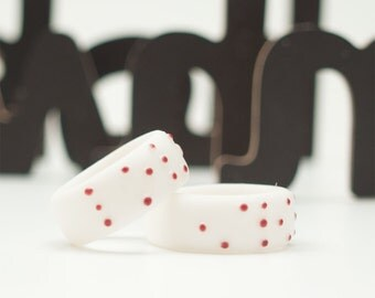LOVE BRAILLE Porcelain Ring, White Porcelain, Burgundy Dots