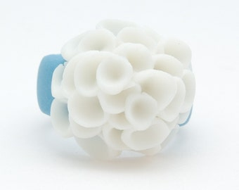 El Medano Sky Blue and White Porcelain Ring with cluster white  flowers, Ceramic jewellery,Porcelain Jewellery