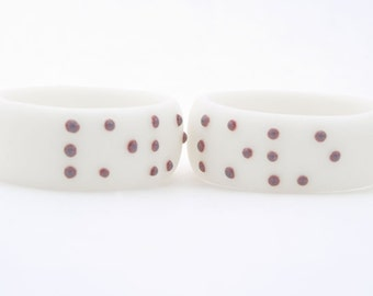 LOVE BRAILLE  RING , White Porcelain ring with Purple Dots, Personalized Jewelry Initial Ring,Customize Initial Ring
