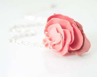 Large Flower Pendant Necklace,  Porcelain Rose Dark Light Pink  Chain Necklace IlDeRe Porcelain Handcrafted Jewelry Handmade Artisan Jewelry