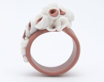 Coral brown porcelain ring with white and coral cluster flowers - Martinique Flower Ring - -  statement ring - handcrafted floral jewelry