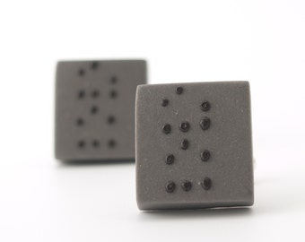 Love Braille porcelain gray cufflinks with black dots  , men's jewelry, personalized jewelry